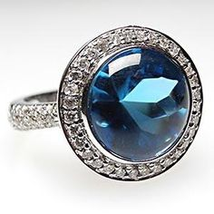 BLUE TOPAZ & DIAMOND HALO COCKTAIL RING SOLID 14K WHITE GOLD- reminds me of my Grandma, want one of these days