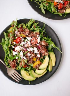 Greek quinoa with arugula, avocado and cherry tomatoes