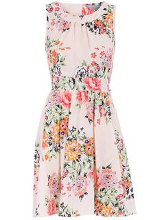 Petite floral high neck dress