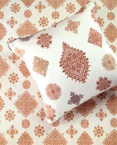 Beautiful Moroccan fabric by Donghia.  This pattern is inspired by the embroidery from the city of Fez.  It's traditionally done in red or black on ivory.  Intricate and refined.