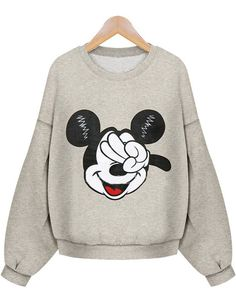 204a8852f7dcc SheIn offers Yellow Long Sleeve Mickey Mouse Print Crop Sweatshirt   more  to fit your fashionable needs.