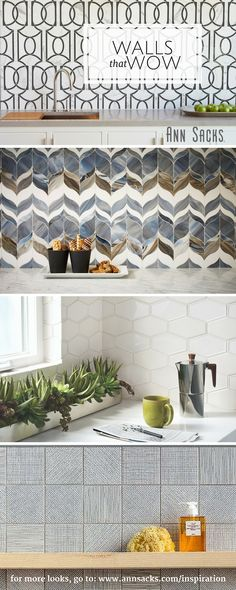 Your bathroom, kitchen, or living space tile backsplash does not have to live in the background. Make a statement by changing up the color, texture… … Kitchen Backsplash, Backsplash Arabesque, Easy Backsplash, Backsplash Design, Travertine Backsplash, Beadboard Backsplash, Mosaic Backsplash, Herringbone Backsplash, Tuile