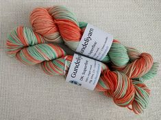Hand dyed DK weight yarn in salmon pink and mint green Green Colors, Colours, Dk Weight Yarn, Spring Looks, Hand Dyed Yarn, Mint Green, Salmon, Throw Pillows, How To Make