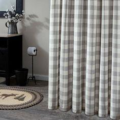 Primitive Shower Curtains, Farmhouse Shower Curtain, Gray Shower Curtains, Rustic Curtains, Primitive Bathrooms, Rustic Bathrooms, Country Style Curtains, Country Decor, Design