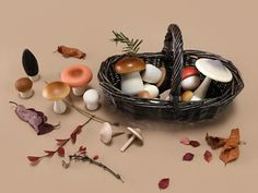 Forest Mushrooms Basket by Moon Picnic Rattan Basket, Forest Friends, Nursery Design, Picnic, Stuffed Mushrooms, Moon, Handmade, Gifts, Diy
