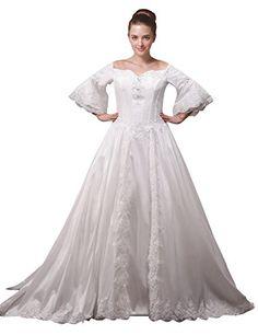Fashion Bug Beading Lace Wedding Dress Plus Size with Sleeves www.fashionbug.us #PlusSize #FashionBug