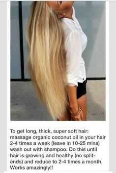 Get Longer, Thicker, Super Soft Hair With Organic Coconut Oil! - - Get Longer, Thicker, Super Soft Hair With Organic Coconut Oil! Curly Hair Styles, Natural Hair Styles, Get Thicker Hair, Grow Long Hair, Tips For Long Hair, Beauty Tips For Hair, Very Long Hair, Healthy Hair Tips, Healthy Long Hair