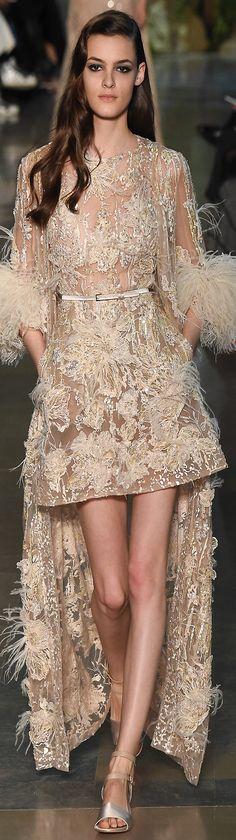 Elie Saab ~ Haute Couture Summer Champange Lace Mini Dress  2015