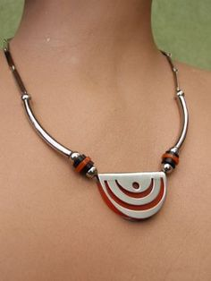 Chunky Modernist Necklace by JAKOB BENGEL.  Stunning chrome with black and red galalith necklace. Made in the early 1930's by the Bengel factory, Idar-Oberstein, Germany.