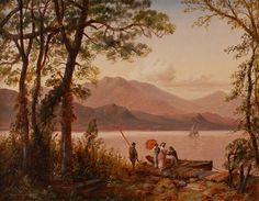 Available for sale from Godel & Co., Granville Perkins, Afternoon Boating on Lake George, 14 × 18 in Hudson River School Paintings, A4 Poster, Poster Prints, Lake George, Vintage Artwork, Outdoor Art, The Great Outdoors, Oil On Canvas, Fine Art