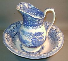 Canova Staffordshire Blue & White Pitcher and Bowl from nhantiquecoop on Ruby Lane