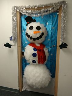 Office Door Decoration Contest Entry: Styrofoam Cup Snowman!
