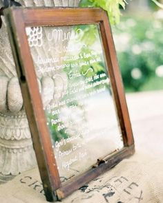 Outdoor Menu    menu written on a vintage window frame and fit in perfectly with the natural decor and setting.