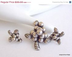 ON SALE Mexican Sterling silver Brooch and by popgoesmyvintage