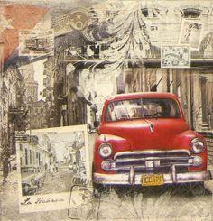 4 x Single Luxury Paper Napkins for Decoupage and Craft Vintage La Havana Vintage Artwork, Vintage Images, Vintage Posters, Decorative Paper Napkins, Paper Napkins For Decoupage, Vintage Labels, Retro Vintage, Diy Image, Clown Paintings