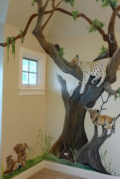 Safari Animal Nursery - Jungle Mural - My best shares Animal Bedroom, Jungle Bedroom, Jungle Nursery, Animal Nursery, Nursery Room, Nursery Murals, Nursery Paintings, Safari Room, Safari Jungle