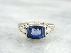 Fancy Cut Cobalt Blue Sapphire and White Gold Filigree Ladies Ring - P1CL10-P