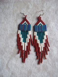 Seed Bead Beaded Earrings in Brown Ivory and by ArtskilsEarrings, $18.75