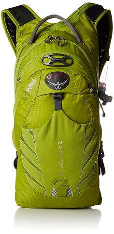 Osprey Men's Raptor 6 Hydration Pack, Screaming Green, One Size. LidLockTM clip quickly secures helmet. One interior zip and three slip pockets. Two exterior pockets. Hiking Tips, Camping And Hiking, Backpacking Gear, Camping Gear, Osprey Backpacks, Popular Backpacks, Best Hiking Backpacks, Hydration Pack, Outdoor Recreation