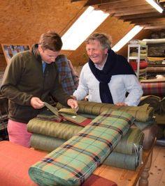 James-Sugden-OBE-and-son-John-Sugden-selecting-tweed-at-Islay-Woollen-Mill Woolen Mills, Bespoke Tailoring, Tweed Fabric, Women Wear, Bespoke