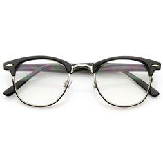 Vintage Optical RX Clear Lens Clubmaster Wayfarer Glasses 2946 Black