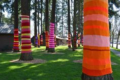 yarn bombin' in seattle --  titled 'Artificial Light'  created by Suzanne Tidwell