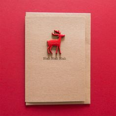 Blah Blah Blah. Funny Rude Christmas Card - Handmade enamelled wooden reindeer card. by TeddyPerkins on Etsy