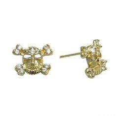 14K Yellow Gold 6mm CZ Skull Crossbones Stud Earrings | Body Candy Body Jewelry #bodycandy