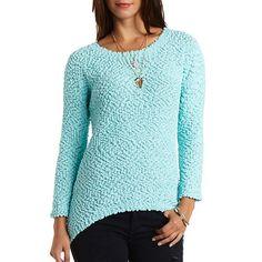 Popcorn Knit High-Low Tunic Sweater: Charlotte Russe