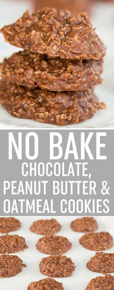 This No Bake Chocolate, Peanut Butter & Oatmeal Cookie recipe is a classic! It… This No Bake Chocolate, Peanut Butter & Oatmeal Cookie recipe is a classic! It's super easy, takes only minutes and is great to make with kids. via /browneyedbaker/ Easy Desserts, Delicious Desserts, Dessert Recipes, Yummy Food, Baking Desserts, Snack Recipes, Easy Sweets, Snacks Ideas, Dishes Recipes