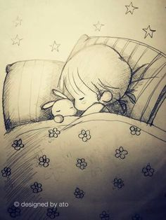 Notte - Amy and tim Sweet Drawings, Girly Drawings, Cool Art Drawings, Pencil Art Drawings, Easy Drawings, Girl Drawing Sketches, Anime Sketch, Cute Illustration, Love Art