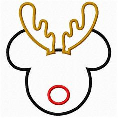 Mickey Mouse Reindeer Christmas Applique Set 4x4 and 5x7 6x10 Sewing Machine Embroidery Applique infant toddler girls.