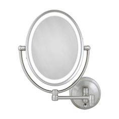 Zadro's Oval LED Lighted Wall Mirror features dual-sided, optical quality glass to ensure a clearer reflection of your true self. This mirror offers a 10X magnified view on one side and a 1x magnified view on the other.