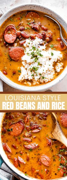 LouisianaRed Beans and Rice is a classic Southern comfort food dish prepared with tender red beans, spicy Andouille sausage, onions, celery, bell peppers, and served over hot rice. #redbeans #redbeansandrice #southerncomfortfood #easydinnerideas