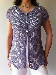 Jamie - short sleeve vest Crochet Pattern by Vicky Chan.