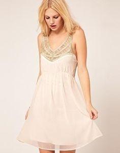 Chiffon Dress With Embellished Neck