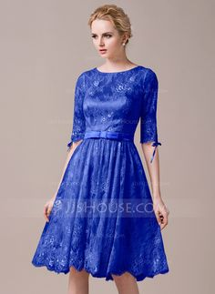A-Line/Princess Scoop Neck Knee-Length Charmeuse Lace Bridesmaid Dress With Bow(s) (007059435)