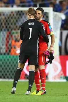 #EURO2016 Manuel Neuer of Germany reacts with Gianluigi Buffon of Italy prior to the penallty shot out of the UEFA EURO 2016 quarter final match between...