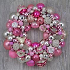 Soft Pink and White Wreath with Vintage Ornaments Including Shiny Brites and Indents. http://thehauntedlamp.com
