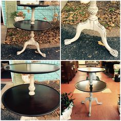 Refinished two tier side table with Rethunk Junk paint stain top and linen with dark glaze. #ourjunkyourtrunk #rethunkjunkpaint #breakthechalkhabit