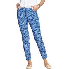 Blue and white floral pixie pants They are brighter in person like first and last photo. iPhone camera didn't pick up color well. Old Navy Pants Ankle & Cropped