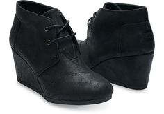 eb82955b43 Toms Desert Wedge Womens Black Synthetic Leather 10006247 Heels Booties  Shoes Metallic Wedges, Black Wedges
