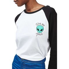 Women's Topshop By Tee & Cake Alien Ringer Tee (£40) ❤ liked on Polyvore featuring tops, t-shirts, white, white tee, baseball style t shirts, baseball tshirt, white baseball tee and baseball tee