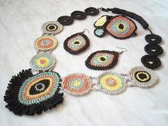 Crochet jewelry  Brasil  dance of colors  OOAK by wincsike on Etsy,