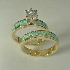 Ladies 14 karat yellow gold wedding set with natural Turquoise inlay & 1/2 carat round diamond.