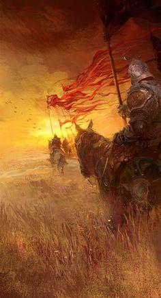 Fan of epic fantasy art! Elfen Fantasy, Fantasy Warrior, Medieval Fantasy, Sci Fi Fantasy, Fantasy World, Dark Fantasy, Templer, Wow Art, Fantasy Inspiration