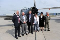 L-R: Glyn Jones - MD London Luton Airport, Revd. Michael Banfield - Snr Airport Chaplain, Eddie Allison - MD RSS Jet Centre, Cllr Sheila Roden - Mayor of Luton, Deborah Inskip -High Sheriff of Bedfordshire and Chris Heames - pilot of the Percival Provost