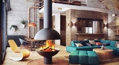 Interior Home Design Architecture. Splendid Industrial Home Design Ideas. Splendid Industrial Themed Home Interior Decor Featuring L Shape Turquoise Sofa Set And Grey Brick Exposed Walls Plus Yellow Unique Shaped Chair. Industrial Home Design