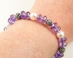 Sterling silver amethyst bracelet amethyst and pearl beaded