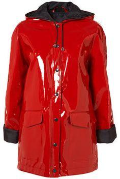 Topshop shiny red pvc plastic rain coat mac